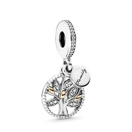 Familien Stammbaum Charm-Anhänger, Bicolor: 14-K-Gold, Kein anderes Material, Keine Farbe, Cubic Zirkonia - PANDORA - #791728CZ