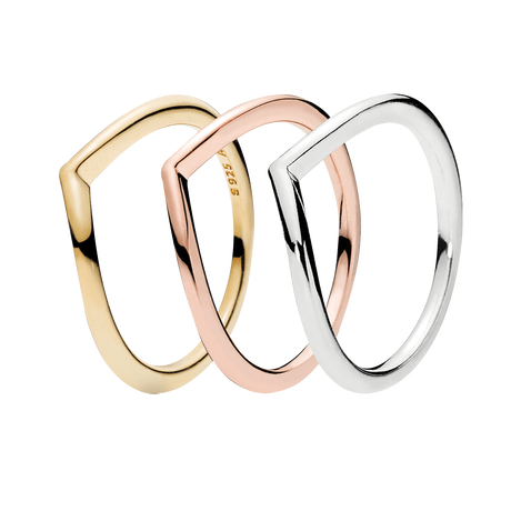 Tricolor Wishbone Ring Set