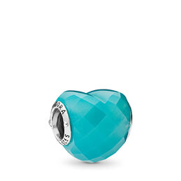 Blue Shape of Love Charm, Sterling-Silber, Kein anderes Material, Blau, Kristall - PANDORA - #796563NSC