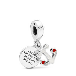 Anchor of Love Charm, Sterling-Silber, Emaille, Rot, Kristallperle - PANDORA - #797208ENMX