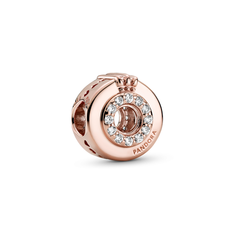 Offenes Pavé Crown O Charm