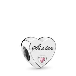 Sister-Herz Charm, Sterling-Silber, Kein anderes Material, Keine Farbe, Cubic Zirkonia - PANDORA - #791946PCZ