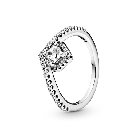 Funkelndes Quadrat Wishbone Ring