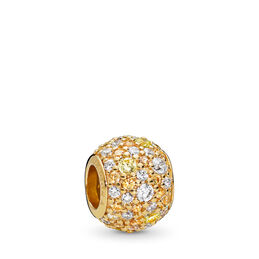 Golden Mix Pavé Ball Charm, 18 Karat vergoldetes Sterling-Silber, Kein anderes Material, Gelb, Cubic Zirkonia - PANDORA - #767052CSY