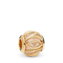 Golden Coloured Intertwining Radiance Charm, 18 Karat vergoldetes Sterling-Silber, Kein anderes Material, Gold, Cubic Zirkonia - PANDORA - #761968CCZ